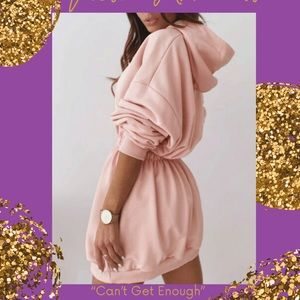 Super cozy, lounge wear hooded dress.
